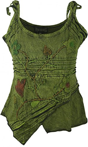 (Dark Dreams Ethno PSY Nepal Pixie Top Tank Shirt Razorcut Witchy Pagan 36 38 40 42, Größe:L/XL, Farbe:moosgrün)