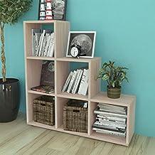 Festnight Estantería de Libros con 10 compartimentos de Bibliotaca de  Esquina Decorativa Roble 107cm a2419e2bf1b4