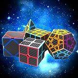 TianranRT2X2 3X3 Skew Cube Pegatina de Fibra de Carbono Magic Cube Puzzle Toy Set de 5 (Color)
