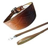 Retro Hellbraun Halsband Hundeleine Set 3Größen Gepolstert und Innenseite aus Wildleder Whippet Windhund Stil Halsband