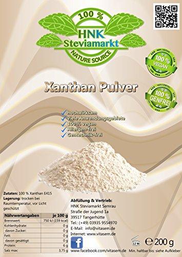 Xanthan Pulver 200g - Stabilisator, Verdickungsmittel - geschmacksneutral in Lebensmittelqualität für Soßen, Dressings, Kosmetik - Xanthum Gum