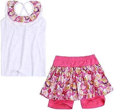 YIZYIF Traje Niña 2-8 Años Camiseta Sin Manga Pantalón Corto Faldas Pantalón Floreada Conjunto Verano Infantil Algodón Vacación