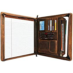 Rustic Town Portfolio A4 en cuir, porte document, portfolio cuir pour bureau, agenda d'affaires en cuir, chemise de dossier en cuir, portfolio cuir pour directeur (Bronzer)