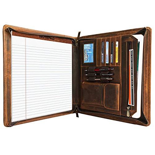 4 mit Reißverschluss und Tablet, Laptop Fächern – schwarze elegante Dokumentenmappe – Business Organizer aus Echtleder durch Rustic Town ()