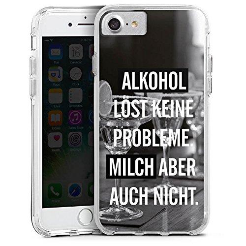 Apple iPhone 7 Plus Bumper Hülle Bumper Case Glitzer Hülle Alkohol Party Sprüche Bumper Case transparent