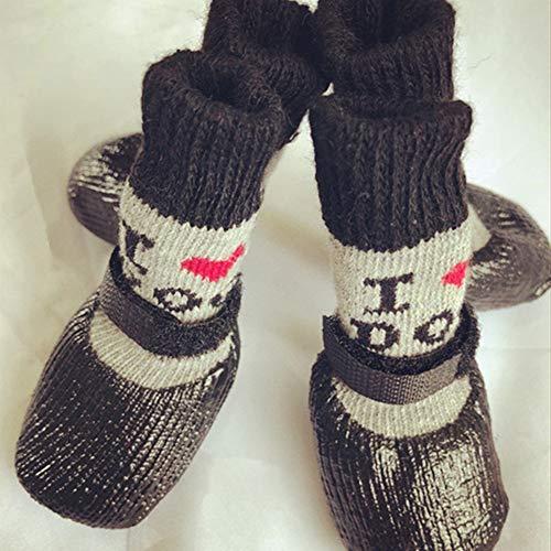 Warm Dog Waterproof Haustiere Socken, Anti-Skidding atmungsaktive Stiefel, elastische Top Line Design,Paw Protector Anzug für den Winter Line Protector