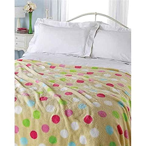 Plush Super Soft Warm Dots Cream Multi Fleece Sofa Bed Blanket Throw Large