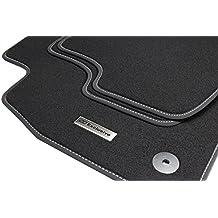 tuning-art BEL103 Alfombrilllas de acero inoxidable exclusivas para coches. Set de 4 piezas, negro, accesorio original, ribete de banda y bordado