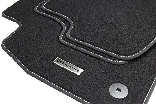 Tuning-Art EL127 Auto Fußmatten Edelstahl Exclusive, Set 4-teilig Schwarz Original Befestigung, Bandeinfassung und Ziernaht