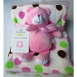 Little Beginnings Fleece Baby Blanket with Pink Plush Bear Toy