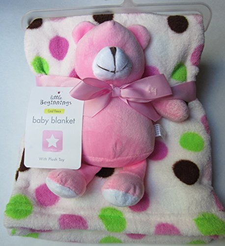 Little Beginnings Fleece Baby Blanket with Pink Plush Bear Toy