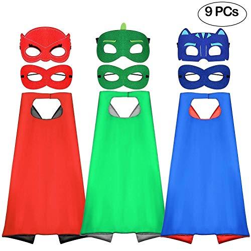 Tacobear Kinder Dress up Kostüme Cartoon Umhänge Superhelden mit Masken Weihnachte Halloween Kostüme Geburtstage Party Fasching Cosplay Costume Spielsachen für Jungen 3Pack Capes und 6pcs Masken