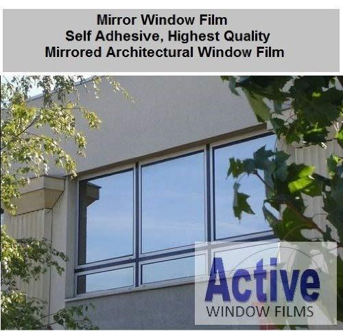 Silver Reflective Window Film (Solar Control & Privacy Tint - One Way Mirror / Mirrored Glass) (76cm x 1 metre - 10 metre) (76cm x 3 metre) by Active Film Reflective Mirror Film