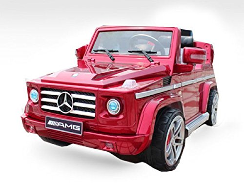 RC Auto kaufen Kinderauto Bild 3: Lizenz Kinderfahrzeug Mercedes Benz G55 AMG Jeep SUV mit 2x 35W Motor Kinderauto Elektroauto Fernbedienung MP3 Anschluss in Schwarz*
