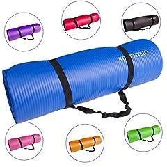 Idea Regalo - Tappetino Spessore Antiscivolo Per Yoga KG | PHYSIO (1cm), Qualità Premium Tappetino Fitness per Pilates e cinghia di spalla libera 183cm x 61cm x 1cm (denso)