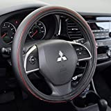 Motor Trend W762RD Metallic Accent ProSleek Synthetic Leather Steering Wheel Cover for Car
