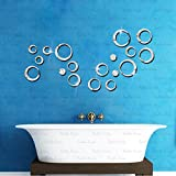 3D DeCor Acrylic Mirror wall stickers - RinGs 18 Silver - 3D Acrylic Sticker 3D Mirror 3D Acrylic Wall sticker 3D Acrylic stickers for wall 3D Acrylic Mirror stickers 3D Acrylic mural for Drawing room living room bedroom kids room home & offices