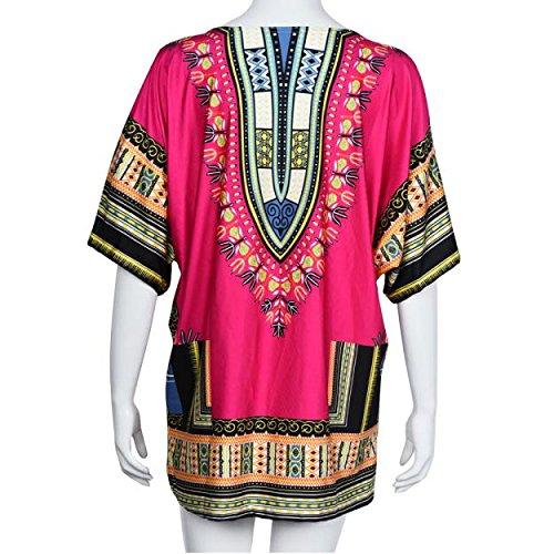 Robe,Malloom Robe D'été Des Femmes Traditionnelle Robe Imprimée Africaine Décontractée Impression Directement Au-Dessus Du Genou Mini Robes Rose vif