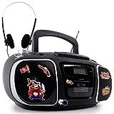 Stereoanlage USB Tragbare MP3 AUX Radio Musik Anlage mit Kopfhörer und Piraten Sticker