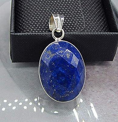 Lapis Lazuli Facetté. Pendentif Femme Argent