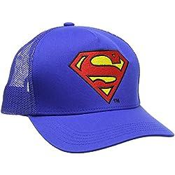 DC Comics - Superman Logo Gorra - Visera para niño - Bordado - Azul - Diseño original con licencia - LOGOSHIRT