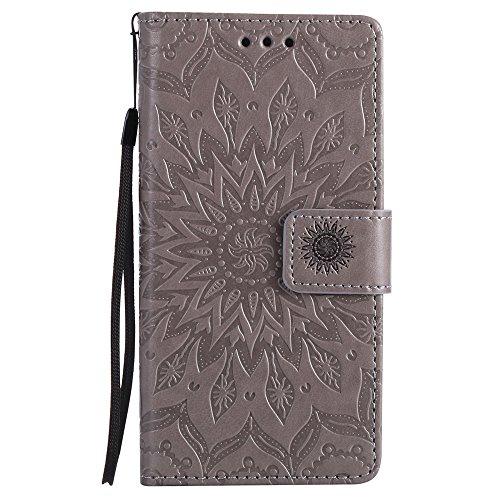 Für Huawei P8 Lite Fall, Prägen Sonnenblume Magnetic Pattern Premium Soft PU Leder Brieftasche Stand Case Cover mit Lanyard & Halter & Card Slots ( Color : Pink ) Gray