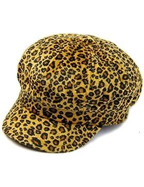 Mai Dou Señora Octagonal Hat Café Leopard Moda Otoño Invierno Casquillo Casquillo Casual