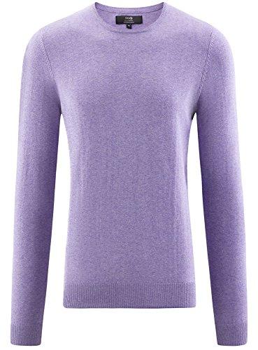 oodji Ultra Herren Pullover Basic mit Rundhalsausschnitt Violett (8000M)