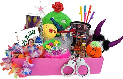 Party-Teufel Damen JGA Bauchladen komplett Set mit Inhalt Luxus Füllung 50 Witzige Spaß Gadgets Frauen Junggesellenabschied