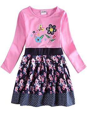 Kinder Mädchen langarm Kleid dunkelblau rosa mit Blumen und Schmetterling bestickt 104-110