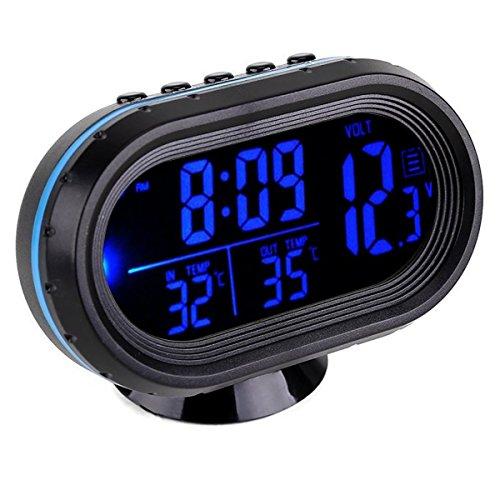 GuDoQi Auto Thermometer LCD Uhr Tragbare Digitale Kleine Temperatur Zeit Leuchtuhren Blau