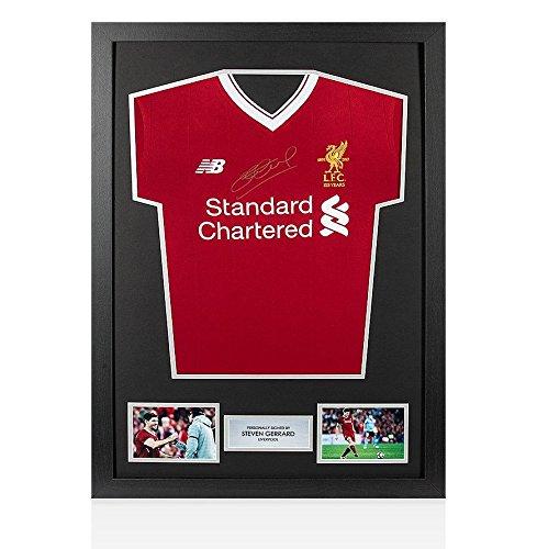 Framed Steven Gerrard Silver Front Signed Liverpool Shirt - Home, 2017/2018