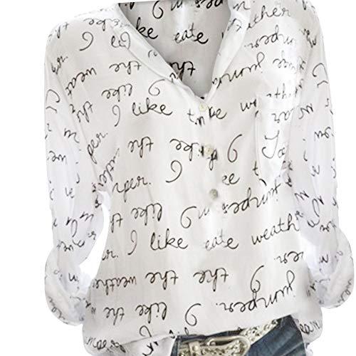 ITISME FRAUEN BLUSE Frauen Plus GrößE V-Ausschnitt Taste Langarm Brief Bluse Pullover Tops ShirtShirt Chiffon Bluse Langarmshirt Mit ReißVerschluss Vorne V-Ausschnitt Tops T-Shirt