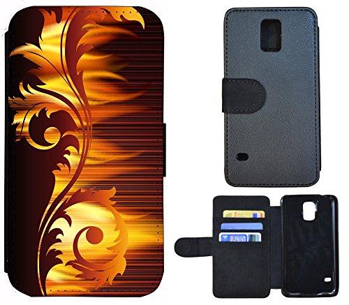 Schutz Hülle Flip Cover Handy Tasche Etui Case für (Apple iPhone 6 / 6s, 1220 Blumen Schmetterling Blau Schwarz Grün) 1226 Abstract Braun Gelb