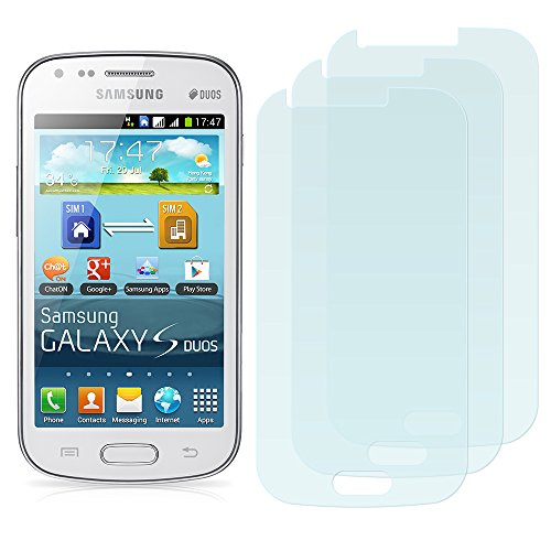 3 x Filmex Displayschutzfolie Samsung Galaxy S Duos (GT-S7562, S7560) - Klar Unsichtbar Aufkleber Schutzfolie, Premium-Qualität Japan PET-Folien, Lebenslange - S Duos Screen-ersatz Galaxy