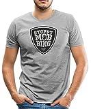 Spreadshirt Camp Stahl Stoppt Mobbing Schild Männer T-Shirt, M, Grau Meliert