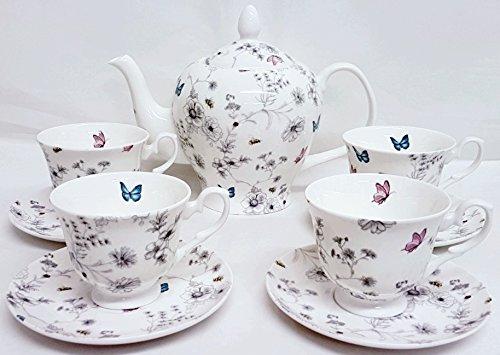 Secret Garden Ensemble à thé 9 pièces en porcelaine anglaise Fleurs Papillons abeilles Grande théière et 4 tasses et 4 soucoupes décorée à la main au Royaume-Uni