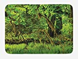 JIEKEIO Rainforest Bath Mat, Trees with Moss Natural Paradise Silence in The Wild Nature Relaxation Illustration, Plush Bathroom Decor Mat with Non Slip Backing, 23.6 W X 15.7 W Inches, Green