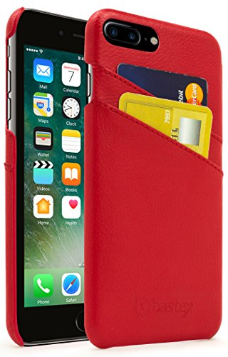 iPhone 7 Plus Fall, Bastex Premium Echt Leder Slim Fit Rot Snap auf Executive Brieftasche Karte Fall Cover für Apple iPhone 7 Plus -