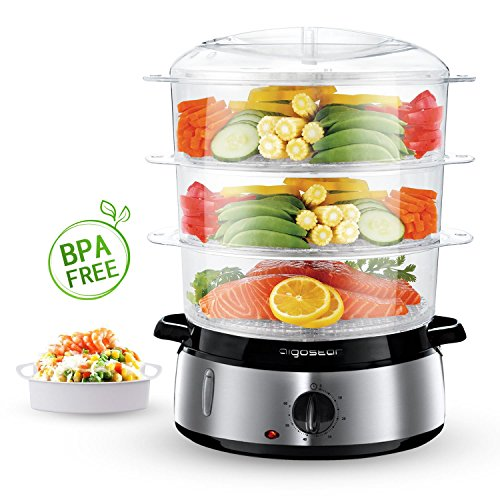 51 LR tV hL. SS500  - Aigostar Fitfoodie 30KHM - Electric Food Steamer, 800W, 3-Tier 9 L Capacity, 60-Minute Timer, Brushed Stainless Steel, Stackable Baskets, BPA Free, Exclusively Design.