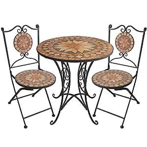 3tlg mosaik gartengarnitur mosaiktisch 70cm klappst hle sitzgarnitur sitzgruppe. Black Bedroom Furniture Sets. Home Design Ideas