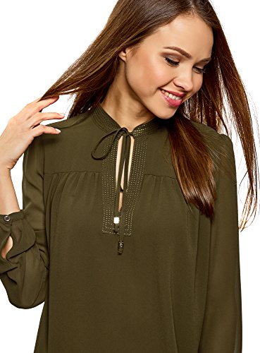oodji Collection Donna Camicetta Larga in Chiffon con Laccetti Verde (6800N)