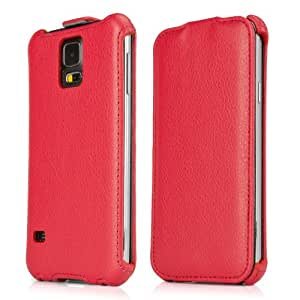 BoxWave Leather Flip Samsung Galaxy S5 Case - Sophisticated Slim-Fit Leather Hard Case with Velvet Lining - Samsung Galaxy S5 Cases and Covers (Ardent Red)