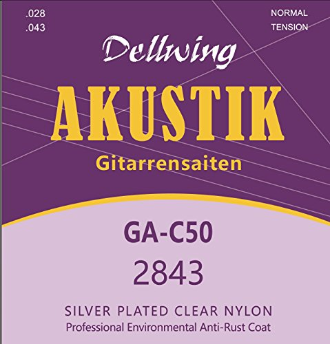 Dellwing Acoustic Guitar Strings (Set ★ Premium Guitar Strings for Classical Guitar, Classical Guitar and Acoustic Guitar ★ ★-Six String Set, Silberumwoben and Top Sound