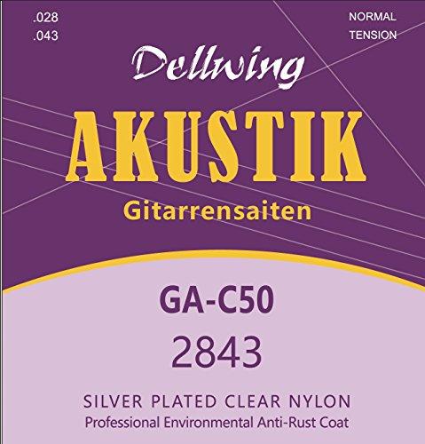 Dellwing Gitarrensaiten Konzertgitarre - Premium Nylon-Saiten für klassische Gitarre, Konzert-Gitarre, Akustik-Gitarre - 6-Saiten-Set - Silberumwoben und TOP Klang - Gitarrensaiten (1 Set)