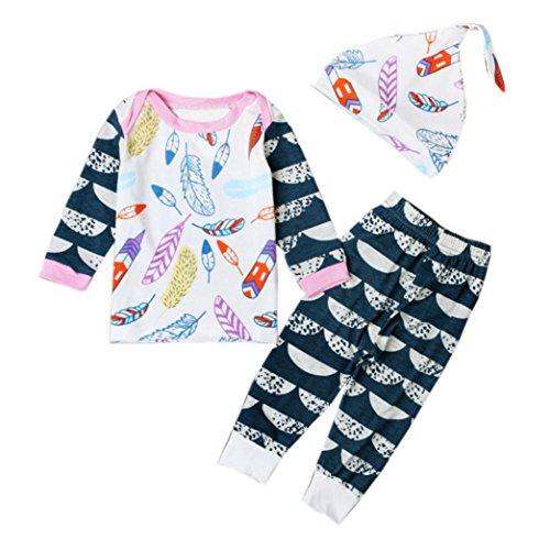 Culater® figlio neonato piuma impronta piccola maglietta sopra i vestiti della pac di cui + (90)
