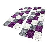 Shaggy Hochflor Teppich Carpet 3TLG Bettumrandung Läufer Set Schlafzimmer Flur, Farbe:Lila, Bettset:2x60x110+1x80x250