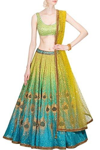 Jay Fashion Bhav Morpich Lehenga Choli peacock artwork & printed lehenga Blue...