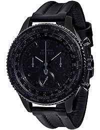 DETOMASO Herren-Armbanduhr Firenze mit schwarzem Edelstahl-Gehäuse und schwarzem Zifferblatt.XXL Herren-Uhr mit einem Durchmesser von 48 mm.