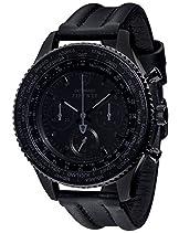DETOMASO Herrenuhr Quarz Edelstahlgehäuse Lederarmband Mineralglas FIRENZE BLACK XXL Chronograph Trend schwarz/schwarz DT1045-D